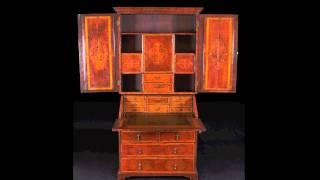 Rare Queen Ann Seaweed Marquetry Secretary Desk