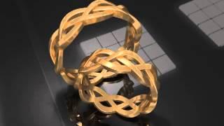 """Свадебные кольца из лимонного золота """"Косичка"""""""