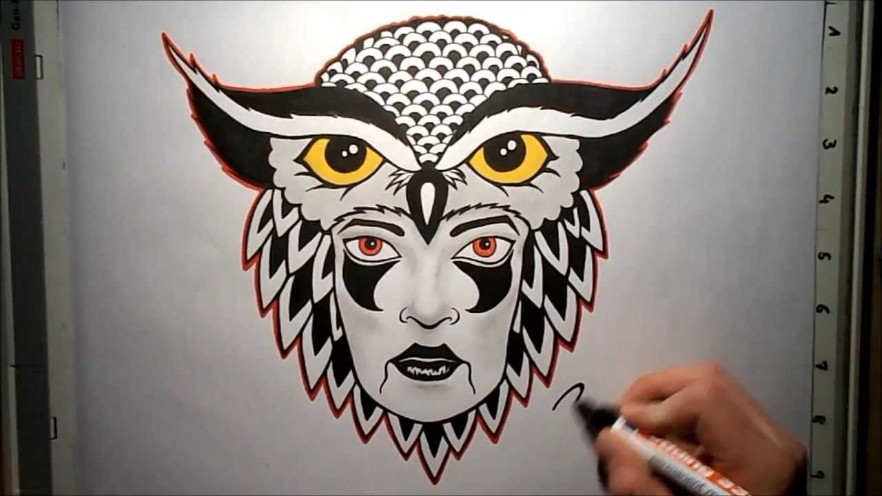 Drawing Owl Tattoo Design Youtube