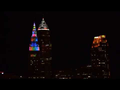 Dancing lights on the Terminal Tower Cleveland, Ohio