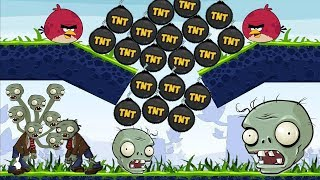 Angry Birds Fry Zombie - DROP AND FORCE ALL TNT BOMB TO ZOMBIES WALKTHROUGH!