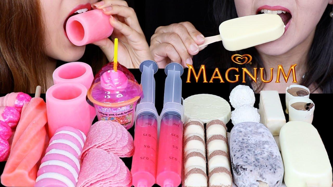 ASMR STRAWBERRY SPRINKLE CUPCAKE CANDY, WHITE CHOCOLATE MAGNUM ICE CREAM BAR, FROZEN SHOT GLASSES 먹방