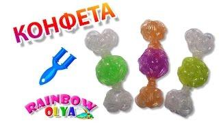 КОНФЕТА из резинок на рогатке. Брелок из резинок | Candy Rainbow loom Charm