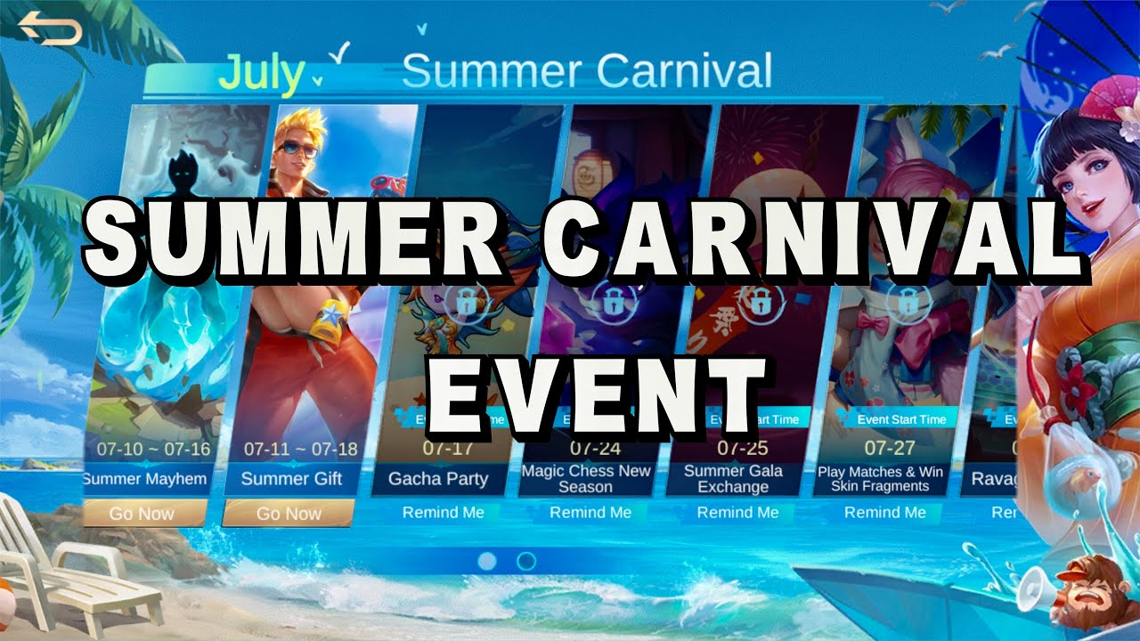 Summer Carnival Event | Summer Gift Preorder, Summer Gacha Party, Summer Gala Exchange - MLBB