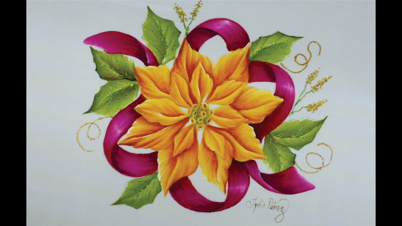 Como Pintar Una Flor De Nochebuena How To Paint A Poinsettia
