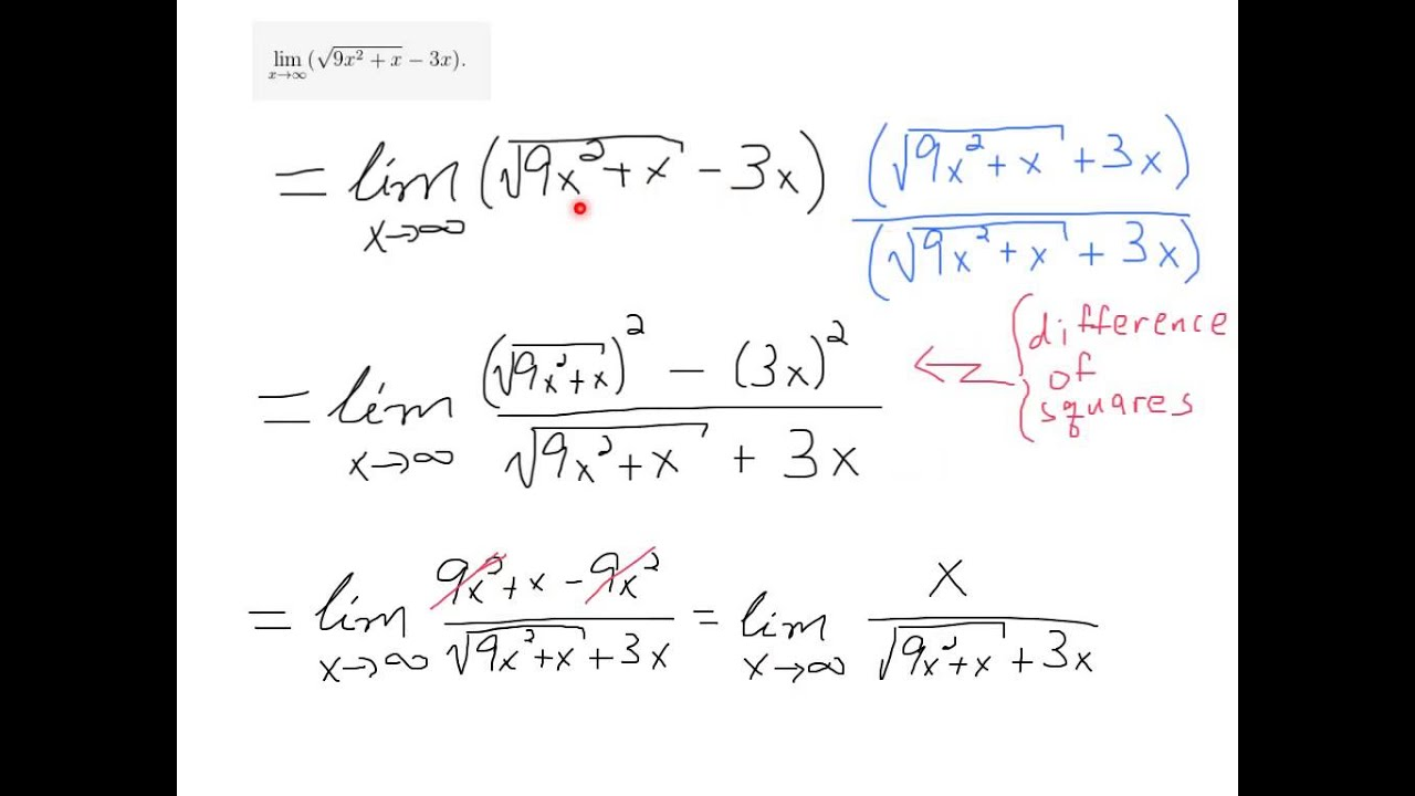 worksheet Evaluating Limits Worksheet limit at infinity with square root youtube root
