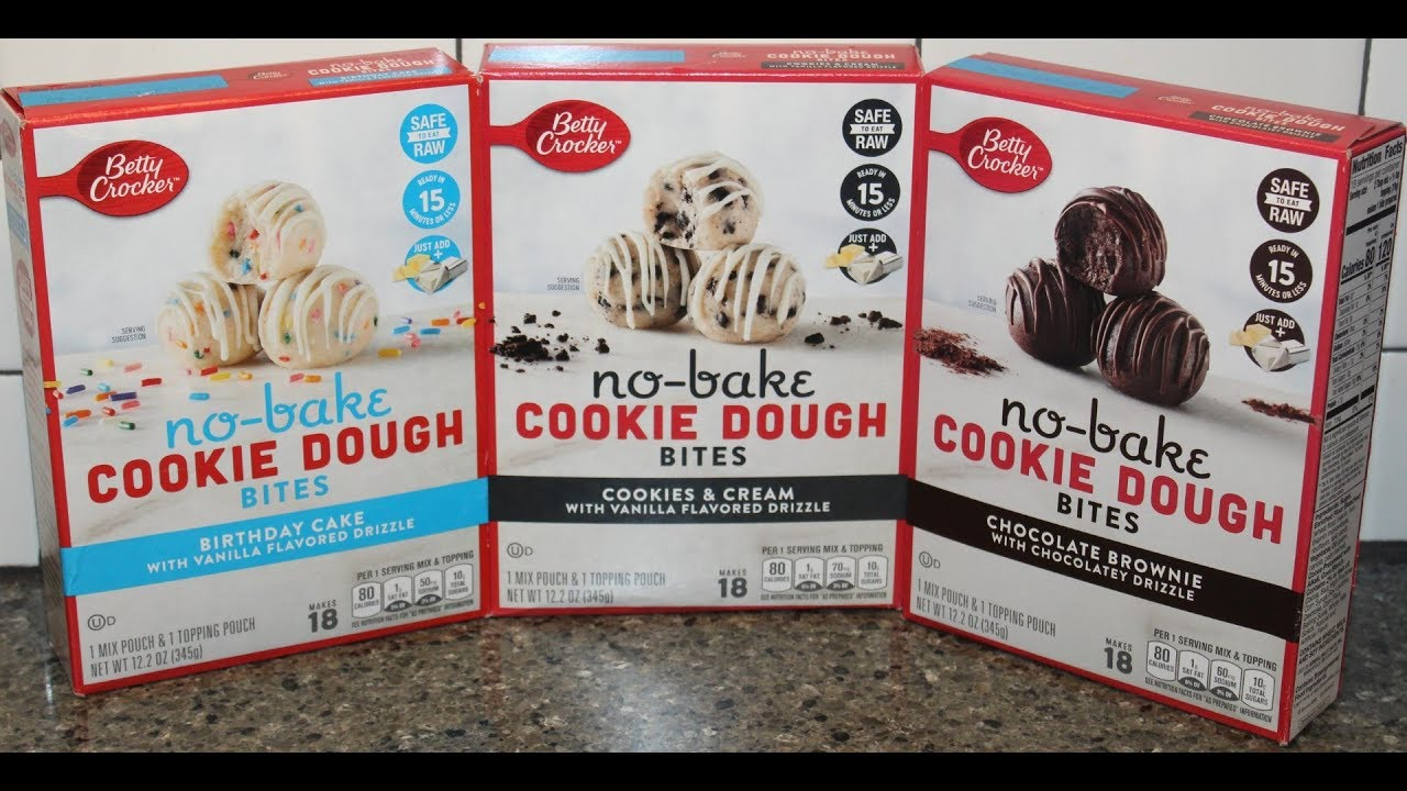 Betty Crocker No Bake Cookie Dough Bites Birthday Cake Cookies Cream Chocolate Brownie Youtube