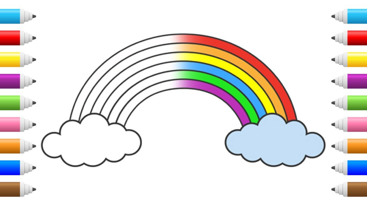 how to draw rainbow coloring pages kids learn drawing fun