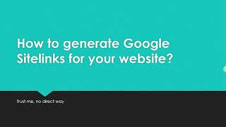 How to get sitelinks in google search result?