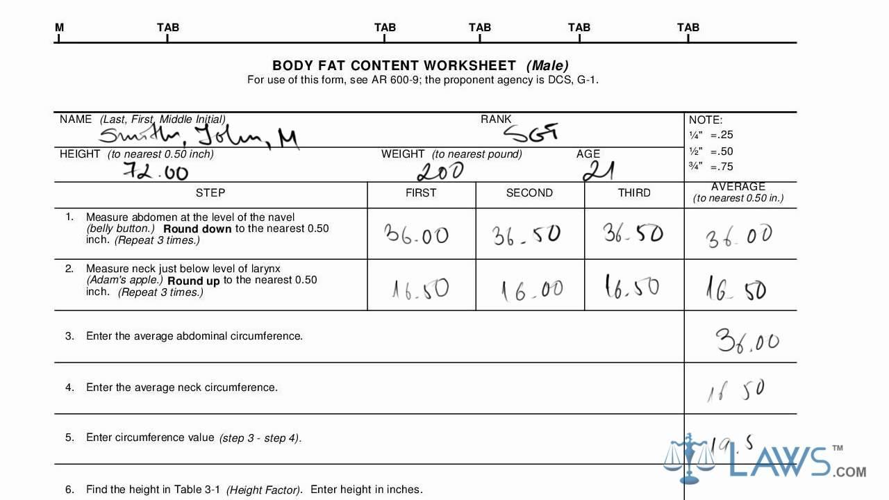 Us Army Body Fat Worksheet - Kidz Activities