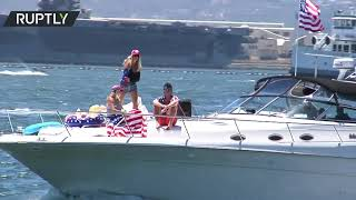 Trump's 75th birthday marked by his supporters at Trumparilla boat parade, San Diego