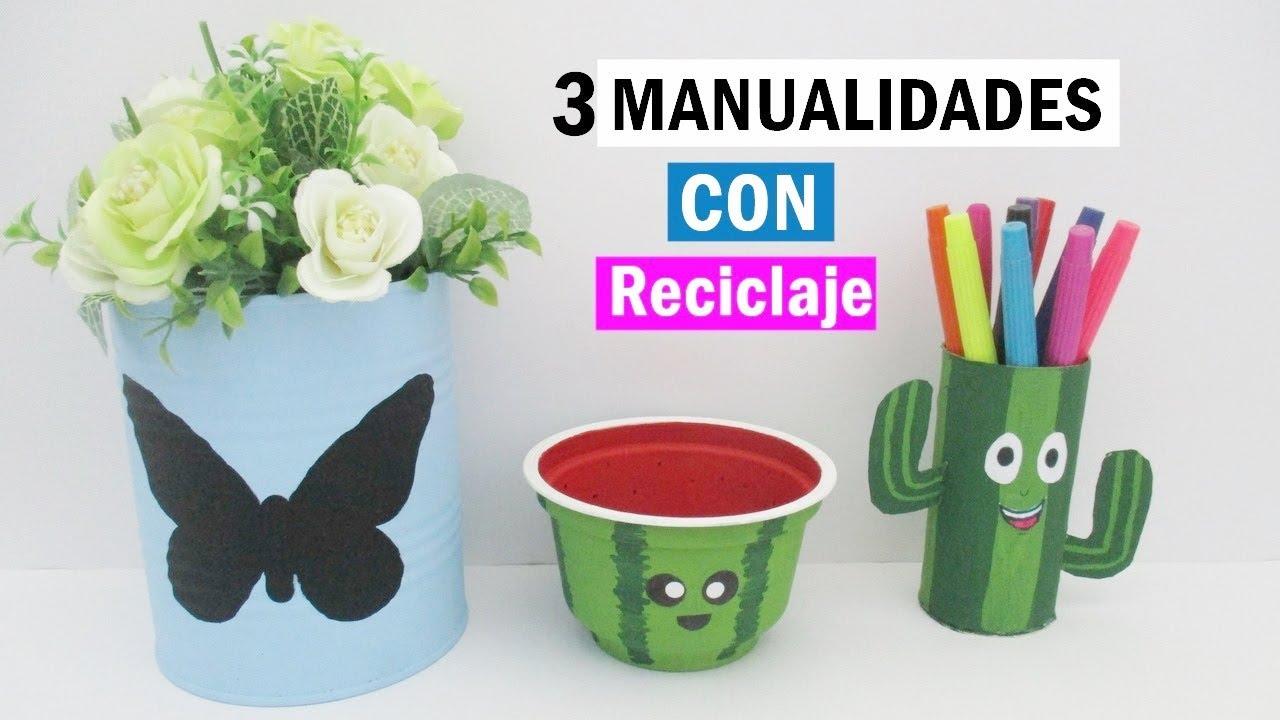 3 Manualidades fáciles con reciclaje - ideas para decorar - YouTube