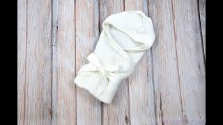 Вязанный конверт-плед с кисточкой, молочный