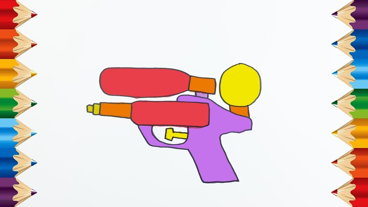 How to Color & Learn to Draw a toy gun - Coloring Pages for Kids ...