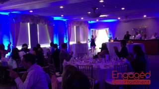 Wedding Reception Entrance With Paper Banner  (Binghamton NY Wedding DJ Engaged Entertainment)