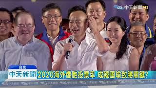 20190915中天新聞 韓能小贏蔡20萬票? 僑胞返台投票率成關鍵