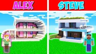 Minecraft Battle:  HIGH TECH HOUSE BUILD CHALLENGE - ALEX vs STEVE in Minecraft