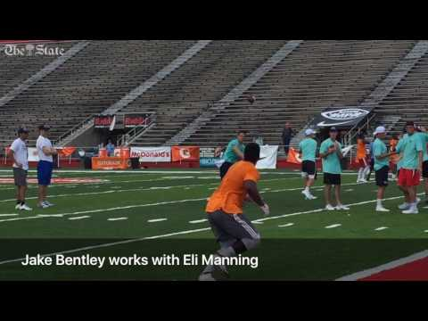 Jake Bentley works out with the Mannings