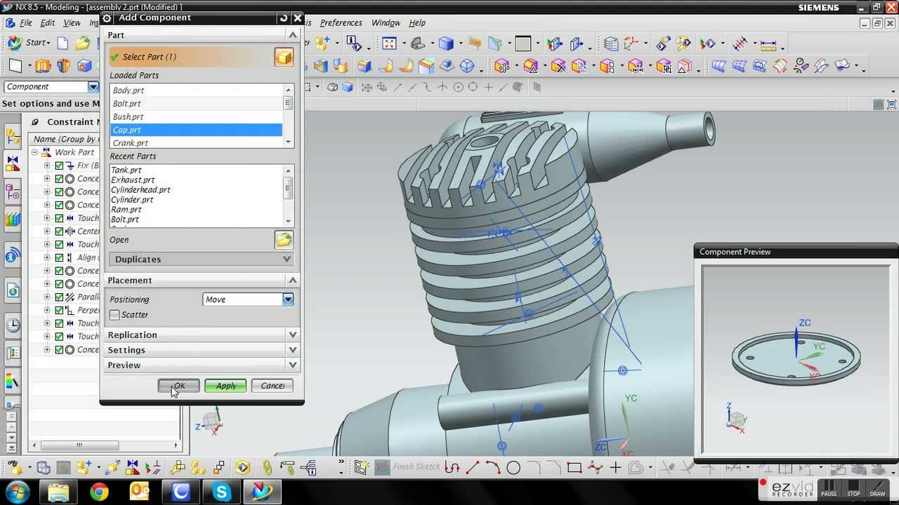 Siemens Nx 8 5 Engine Tutorial 12 Assembly Youtube