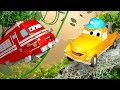 Tom the Tow Truck's Car Wash and Troy the Train   Truck cartoons for kids