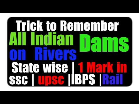Tricks on All Dams on Rivers & their Location in India   Total Dams of ALL Indian States