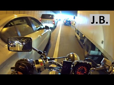 Chopper driving through the crazy MOSCOW traffic jams