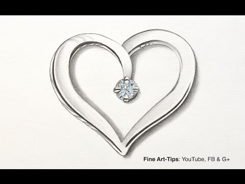 How to Draw a Silver Heart With a Diamond