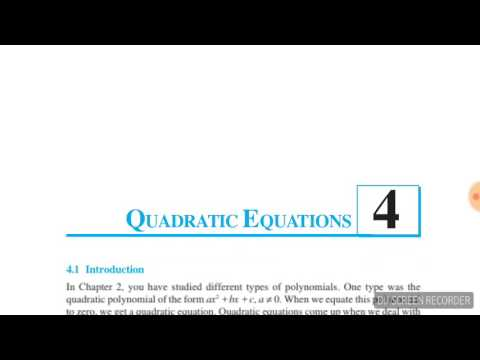 Quadratic equation NCERT