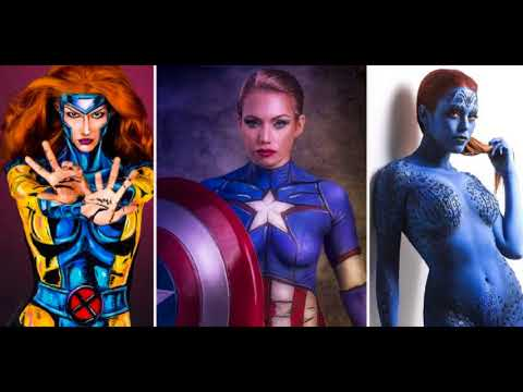 Body paint cosplay superheroes