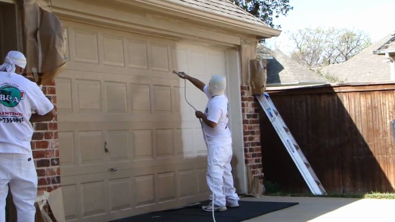 Garage door spray painting dallas ft worth exterior home painters restoration youtube - Painting a steel exterior door model ...