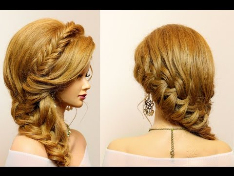 Party hairstyle for long  hair tutorial with  braids