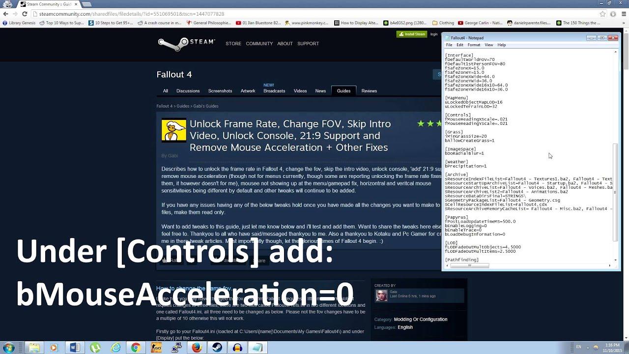 Fallout 4 PC Fixes - How Fix Mouse Acceleration, Sensitivity, and FOV