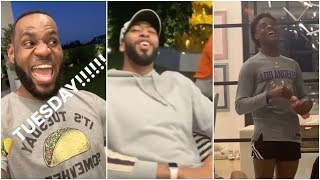 LeBron brings Anthony Davis over to celebrate Taco Tuesday with his family
