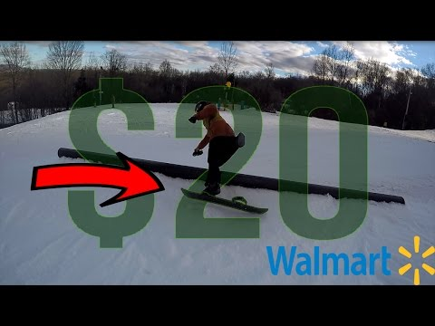 RIDING WITH A $20 WALMART SNOWBOARD!