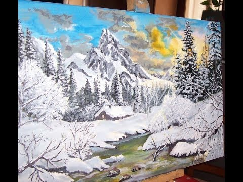 peinture acrylique paysage de montagne en hiver youtube. Black Bedroom Furniture Sets. Home Design Ideas