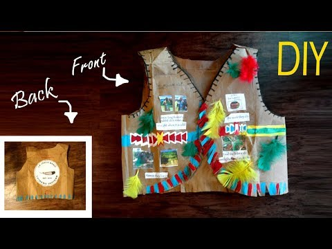 "DIY Native American Paper Vest ""luiseno Tribe"" 3rd Grade Project  فيست الهنود الأمريكان  للاطفال"