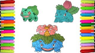How to draw and color Pokemon - Bulbasaur, Ivysaur and Venusaur