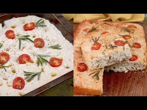 Olive oil focaccia the secret to make it fluffy and high