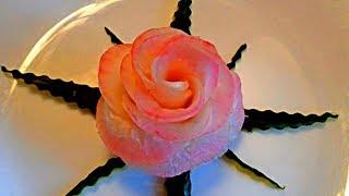 Прекрасная роза из редиса (дайкон) - Украшения из овощей & Украшения блюд - Карвинг редиса