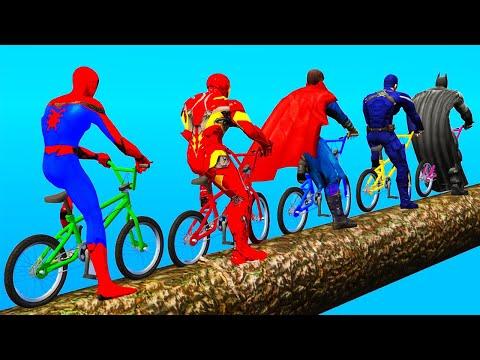 Spiderman ULTRA HARD Bicycle Challenge w Superheroes on Ramp - GTA 5 Gameplay thumbnail