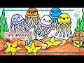 how to draw Cute jelly fish & starfish under the sea drawing for kids