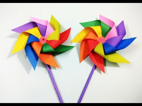 Diy Paper Pinwheel How To Make Rainbow Paper Windmill For Kids
