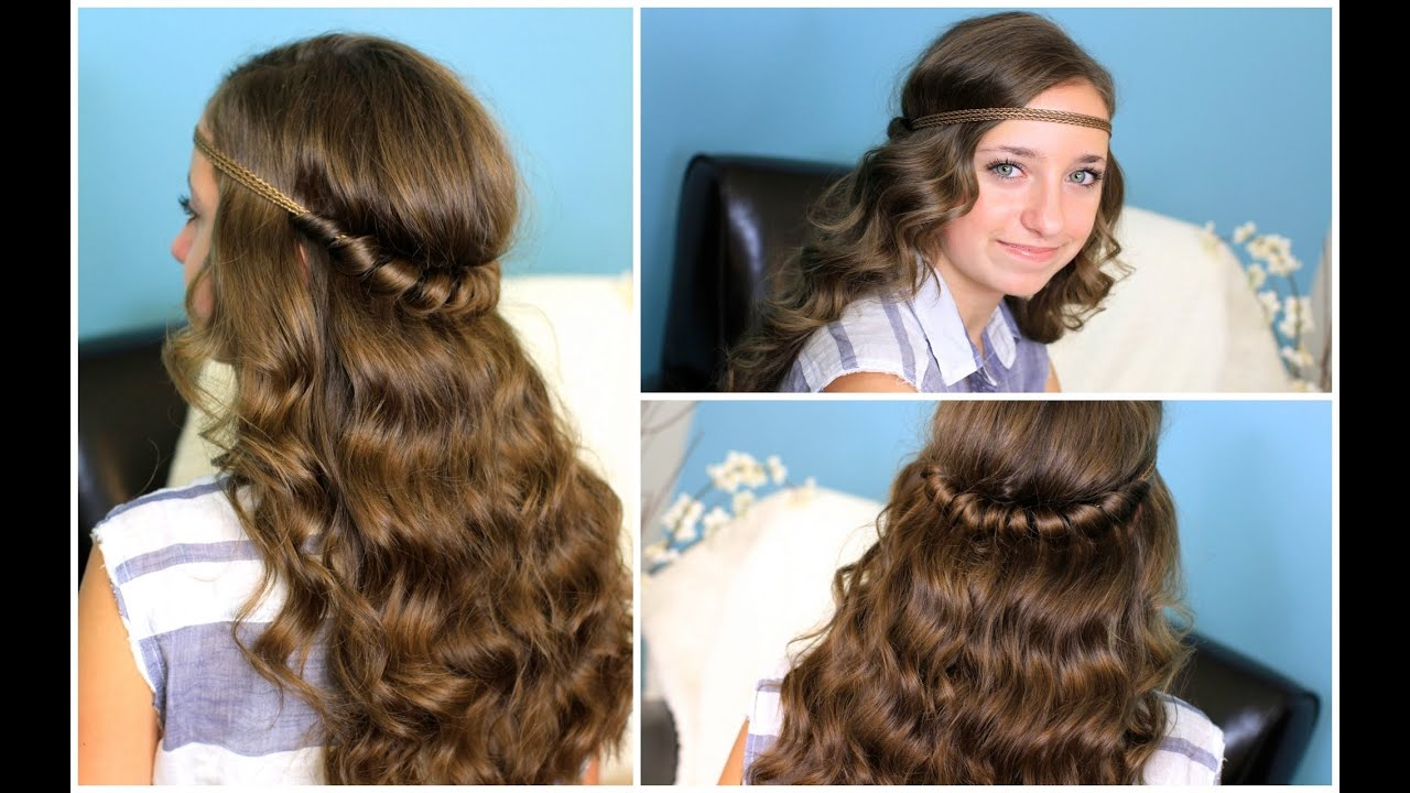 Headband Twist Half Up Half Down Hairstyles Youtube