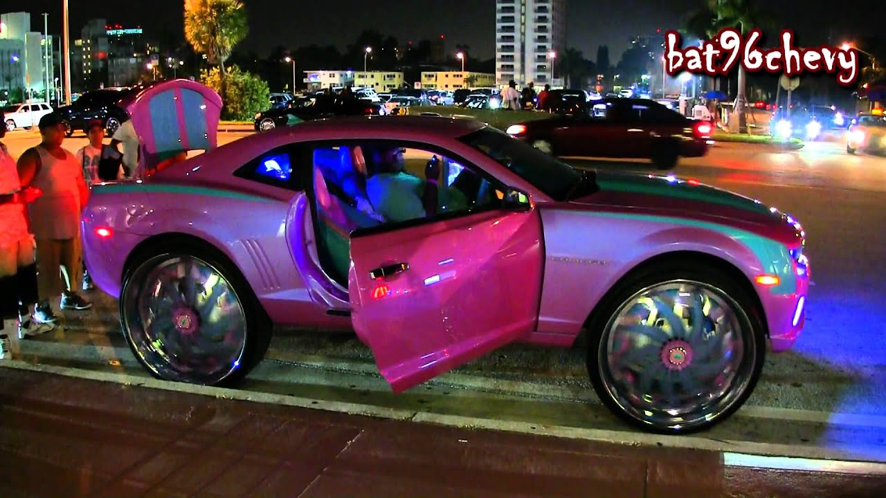 Playing Nba 2k12 On Tv 39 S Outrageous Pink Blue Camaro On