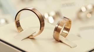 Парные обручальные кольца двухсплавные из красного и белого золота с бриллиантами
