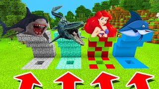 Minecraft PE : DO NOT CHOOSE THE WRONG HOLE! (Megalodon, Mosasaurus & Mermaid)
