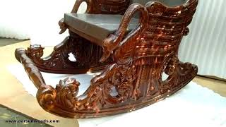 Designer Rocking Chair | Handcrafted in teak Wood | Premium Leatherette | Grandpa Chairs by Aarsun