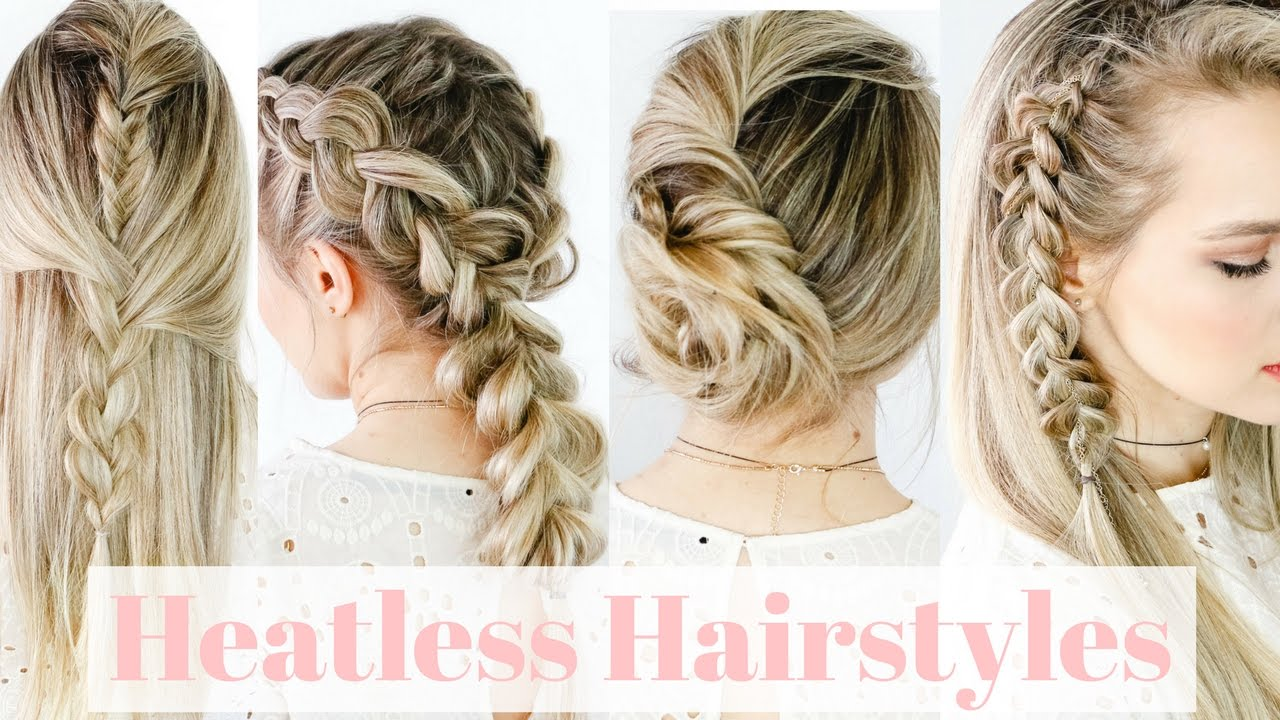 heatless hairstyles on straight hair! - kayleymelissa - youtube