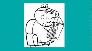 Dady Pig Reading Newspaper - How to Draw Peppa Pig
