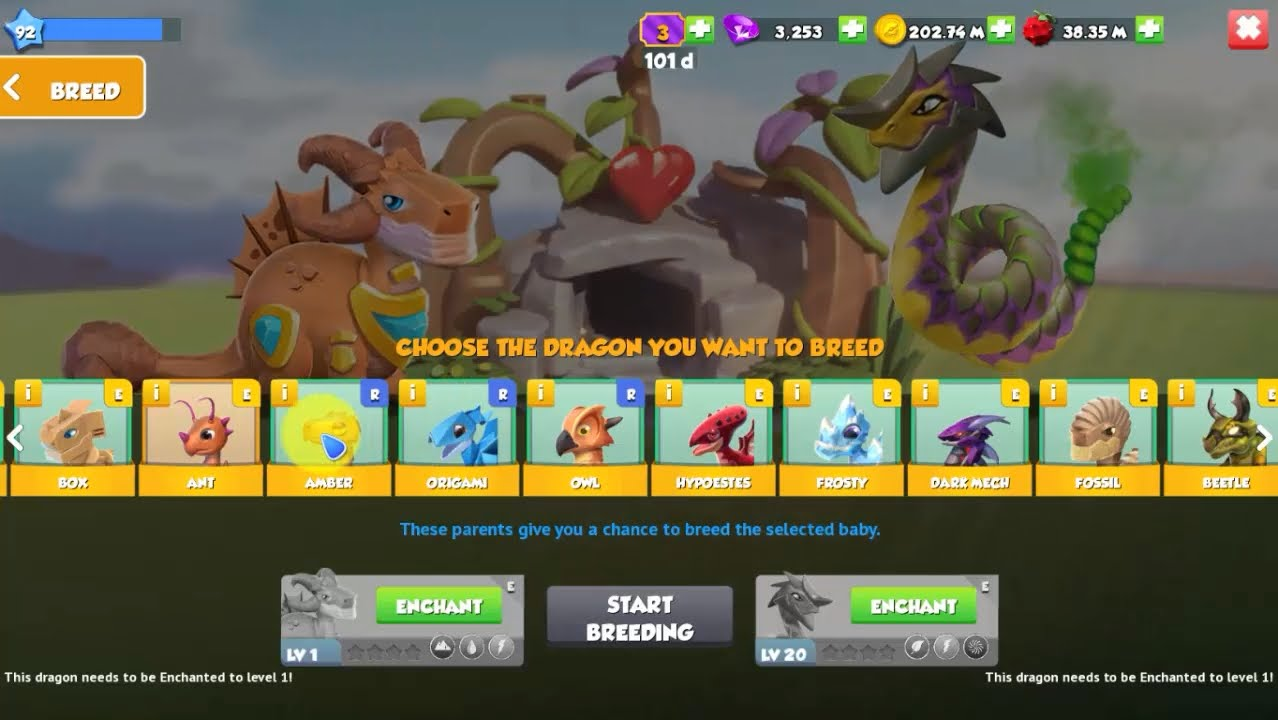 upgrade breed - dragon mania legends